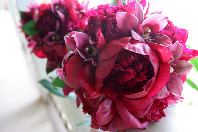 big red brides bouquet, red peonies