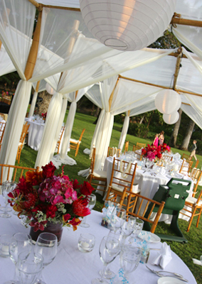 canopies with red accents