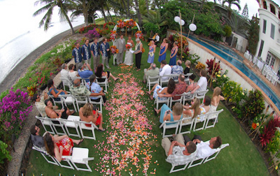 pink rose petal path for a maui wedding