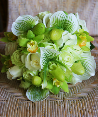 green brides bouquet with lady slippers and Hawaiian grown green orchids