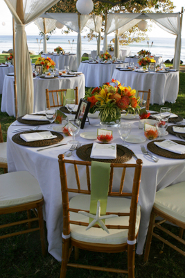 maui wedding with stafish chair detail