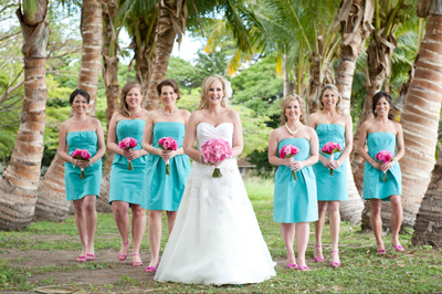 Maui bride with plam trees