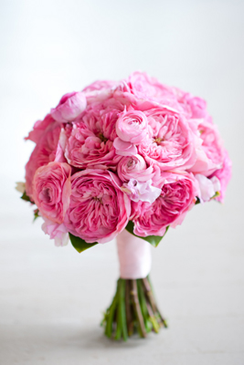 ranunculus and pink garden roses
