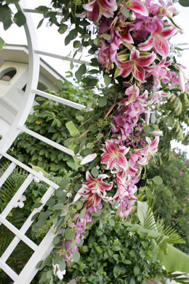 maui wedding arch heaped with pink star gazer lilies