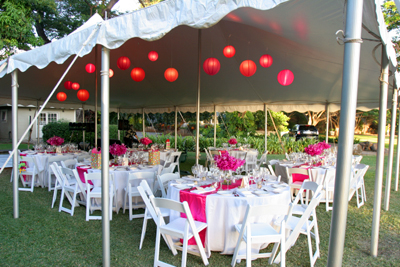 tent with pink lanterns