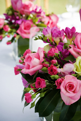 green orchid & pink brides bouquet