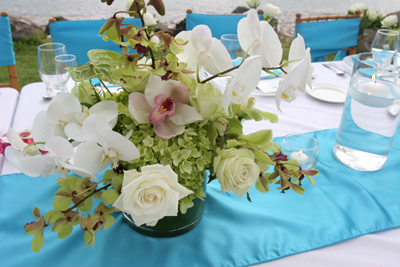 white and green flowers with blue runner