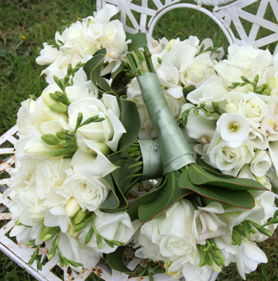 pile of white bouquets