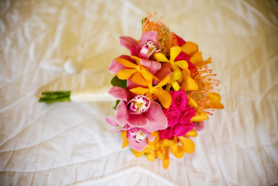 yellow and pink bridemaids bouquet maui