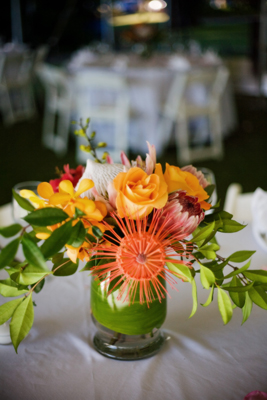 tropical flowers for table in yellow